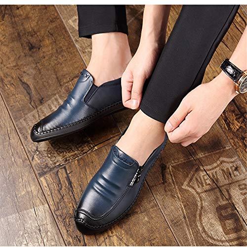 per uomini Qiusa Casual Business Scarpe punta Loafer 44 Dimensione Colore comoda gli EU rotonda Blu cuoio Office Zipper di qtXn1t