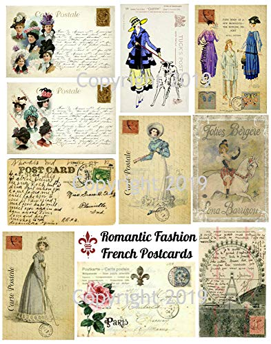 Fashion Reproduction - Vintage Printed French Romantic Fashion Reproduction Post Cards Collage Sheet #6 Scrapbooking, Decoupage, Gift Tags, Card Making
