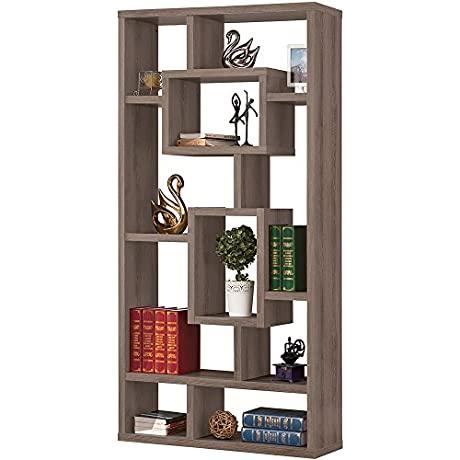 Weathered Gray Interlocking Bookcase Bookshelf Library Living Room Den Furniture Interlocking Shelves Open Storage Holds Books Photos Collectibles And More Grey Wood Composite