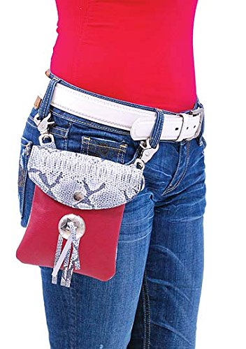 Jamin Leather Clip-On Long Red /& Snakeskin Leather Pouch w//Concho #PKK13044SR
