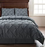 Pinch Pleat Gray Color Full Size 4-Piece Comforter Set, Bed Cover by Cozy Beddings