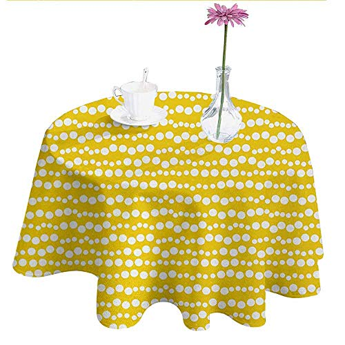 - DouglasHill Yellow and White Leakproof Polyester Tablecloth Modern Design Bubble Inspired Circles Rounds Big Little Dots Outdoor and Indoor use D70 Inch Earth Yellow and White