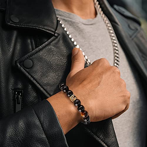 Tiger Eye Bracelet, UHIBROS Initials Bracelets Men, 10mm Black Onyx StoneBraided Rope Bracelets, 14K Gold Plated Letter Initial Bracelet Jewelry Gift for Men and Women-G