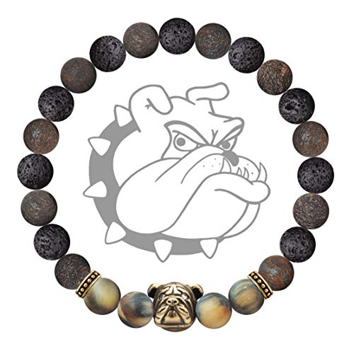 Karseer Anxiety Bulldog Mascot Bracelet Natural Bronzite and Lava Rock Aromatherapy Essential Oil Diffuser Bracelet Healing Stone Yoga Beads Bracelet Friendship Gift for Stress Relief Relax, Unisex 7""