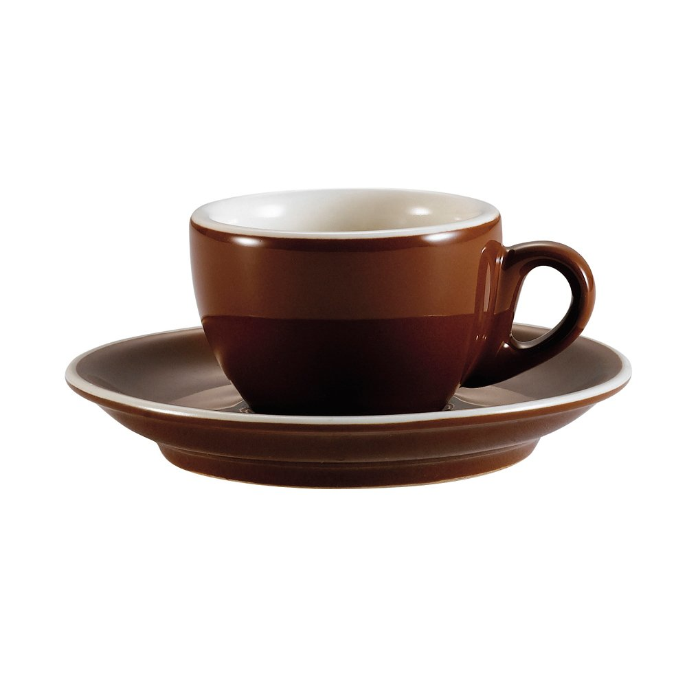 CAC China CFB-1 Venice 8-Ounce Brown/American White Porcelain Round Cappuccino Cup with Saucer, 3-7/8 by 2-3/8-Inch, 36-Pack