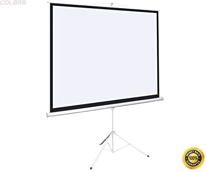 COLIBROX  New 100u0026quot; Tripod Portable Projection Screen Square 70x70  Projector Stand Office,