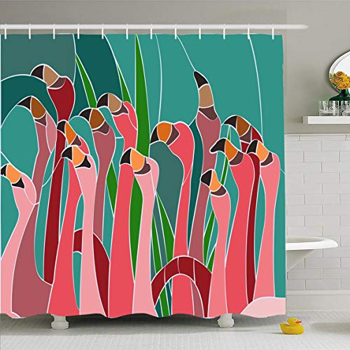 - Ahawoso Shower Curtain 60x72 Inches Flower Flamingo Stained Glass Window Abstract Green Blossom Bright Door East Floral Waterproof Polyester Fabric Bathroom Curtains Set with Hooks