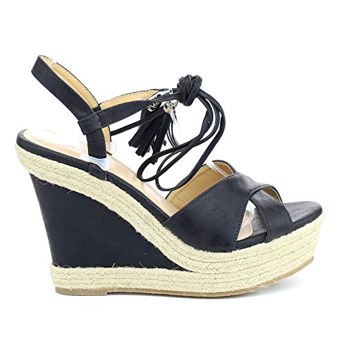 Ankle Wrap Wedge (WestCoast Beverly-01 Women's Leatherette Peep Toe Ankle Wrap lace up Wedge Sandal Black 5.5)