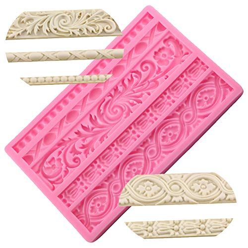 Neepanda DIY Baroque Scroll Relief Cake Border Silicone Molds, Baroque Style Curlicues Scroll Lace Fondant Silicone Mold, European Frame Cake Decorating Tools, Relief Flower Lace Mould Mat(Pink) (Cake Fondant Molds)