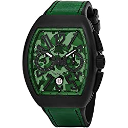 Franck Muller Vanguard Mens Automatic Date Chronograph Green Camouflage Face Green Rubber Strap Watch V 45 CC DT CAMOUFLAGE TTNRMC.VE