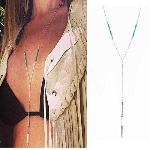 UdobuySilver Necklace Bohemia Turquoise Feather product image