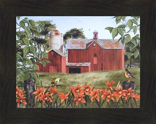 (Summer Days by Billy Jacobs 16x20 Red Barn Robin Tiger Lilies Flowers Birds Fencepost Framed Folk Art Print (2