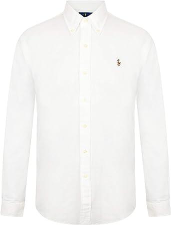 Ralph Lauren Polo para hombre Slim Fit Stretch Oxford camisa manga larga blanco/azul: Amazon.es: Ropa y accesorios