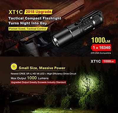 Klarus XT1C CREE XP-L HD V6 LED 1000 Lumens Compact Dual-Switch Tactical Flashlight Pocket Sized Rechargeable 16340 Flashlight 2018 Upgraded,with 16340 Battery,SKYBEN Battery Case and USB Light