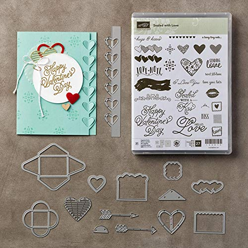 5.9x0.9inch Love Notes Clear Stamp and Dies Set Die Cuts Metal Cutting Die for Scrapbooking Card Making