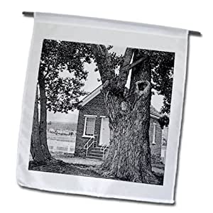 Jos Fauxtographee Realistic - The historical tithing house in Pine Valley, Utah near the Old Chapel - 12 x 18 inch Garden Flag (fl_64406_1)