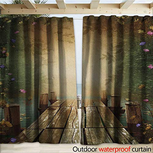 warmfamily Spring Patio Gazebo Pergola Cabana Coming of The Spring Themed Lake and Blooming Flowers Illustration with Wooden Pier W120 x L96 Multicolor (Right Lighted Pier)