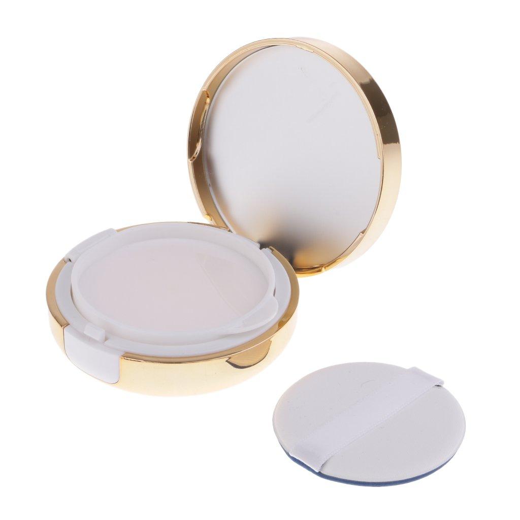 B Blesiya Leer Puderdose Liquid Foundation BB Creme Container Behälter mit Innen Spiegel und Schwamm Puderquaste - Gold