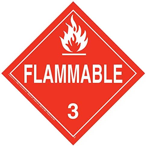 Class 3 Flammable Liquid Placard, Worded - 10.75