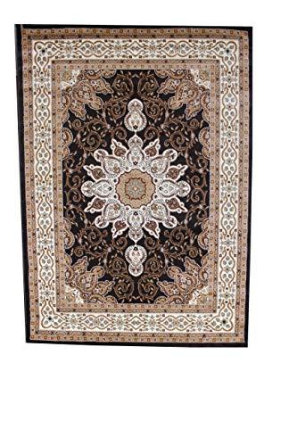 (Luxury Linen Collection Oriental Classic Floral Design Area Rug High Pile Heat set New D653 (5'X7', Dark Brown))