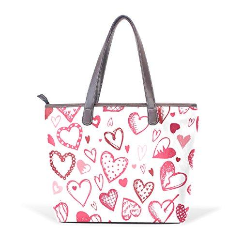 COOSUN Modelo del amor de los corazones grandes mango de cuero Bolsa de hombro bolsa de asas de mano de PU L (33x45x13) cm muticolour