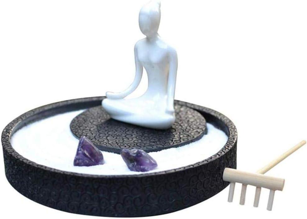 Decoración del Hogar Jardín Zen con Estado De Buda Rocas De Rastrillo De Madera Piedras Zen Japonesas Y Decoración En Miniatura: Amazon.es: Hogar
