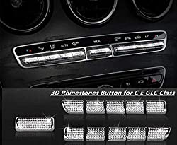 Mercedes Air Conditioner Button Bling Rhinestones Decals