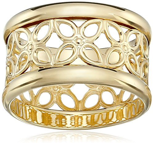 14k Gold Over Sterling Silver Flower Band Ring, Size 7