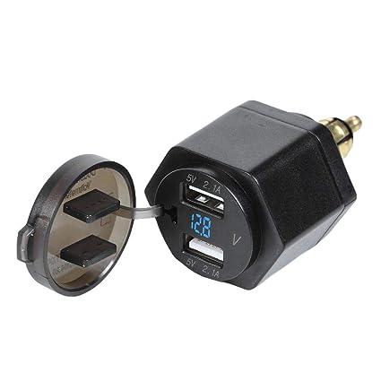 Yanten Motorcycle 4.2A Cargador Dual USB con voltímetro para ...