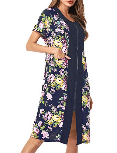 UUANG Women's Robe Zipper-Front Short Sleeve Loungewear Floral Bathrobe Nightshirts Robe(Navy Blue, Small)
