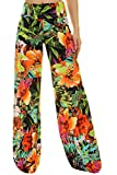Uptown Apparel Womens Fold Over Waist Wide Leg Palazzo Pants, Good for Tall Curvy Women-Ships from U.S.A (Los Angeles) (S, GREENORANGE)