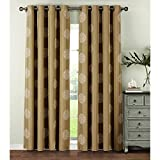 Window Elements  Venice Embroidered Faux Linen Extra Wide 108 x 96 in. Grommet Curtain Panel Pair, Natural
