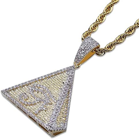 Jewelry Moca Iced Out Pyramid Eye Horus Necklace with Pendant 18k Gold Plated Bling CZ Necklace with Rapper Chain with Simulated Diamonds Hip Hop for Men Women