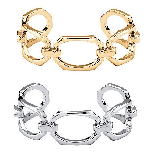 Palm Beach Jewelry Gold Tone and Silvertone 2-Piece Octagon-Link Cuff Bracelet Set 6.5
