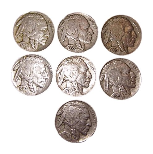 7 - U.S. Indian Head (Buffalo) Nickels Nickel - Grab Bag Buffalo Nickel