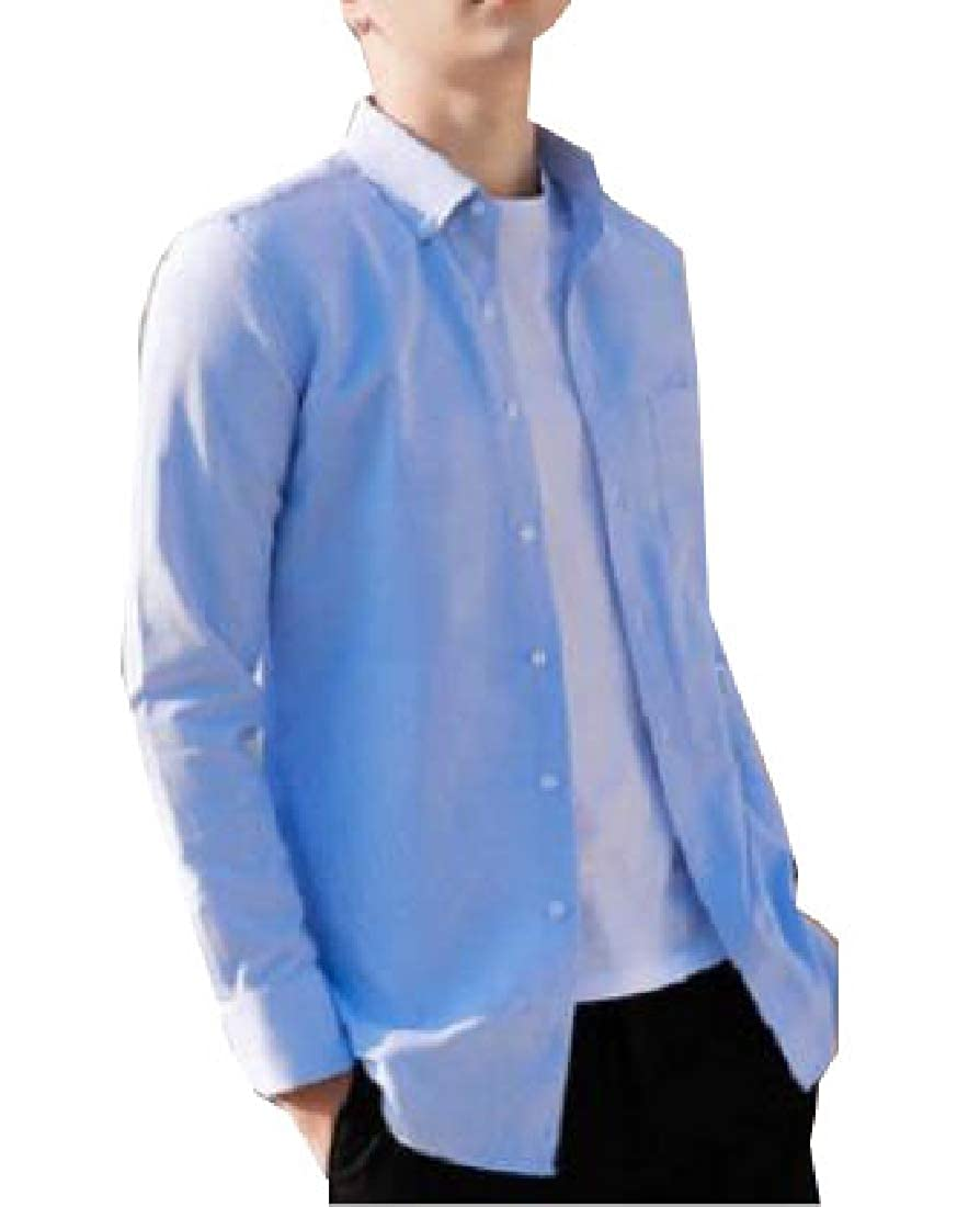 Yayu Mens Lapel Shirt Fashion Long Sleeve Button Up Shirt Top