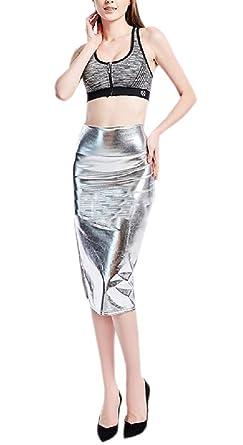 security Falda de Metal Brillante para Mujer, Estilo Informal ...