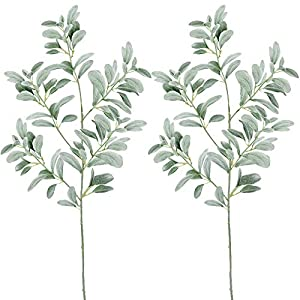 """windiy Supla 2 Pcs Artificial Lambs Ear Leave Spray Artificial Greenery in Dusty Green Flocked 45"""" Tall 204 Leaves for Holiday Greens Plants Floral Arrangement Bridal Bouquets 6"""