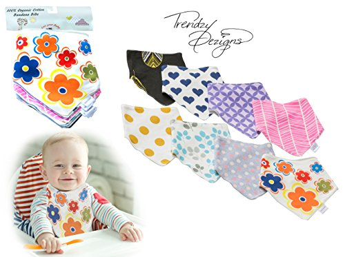 Baby Bandana Bibs for Girls, 8-Pack Gift Set for Drooling, 100% Organic Soft Cottonby