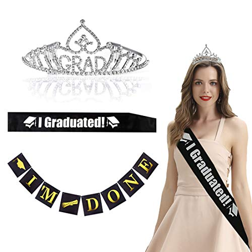 Graduation Party Supplies 2019 with Graduation Princess Grad Tiara & Graduated Sash & Grad Banner for Grad Party Gift Idea Graduation Party Decorations Decor Favors Ornament Prom Accessories