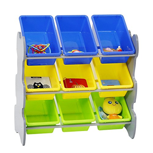 Kinbor Kids' Toys Accessories Storage Organizer Cabinet with 9 Plastic Bins for Bedroom and Play (Nine Bin Toy Organizer)