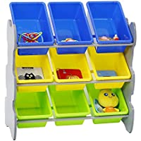 Kinbor Kids Toys Accessories Storage Organizer Cabinet with 9 Plastic Bins for Bedroom and Play Area