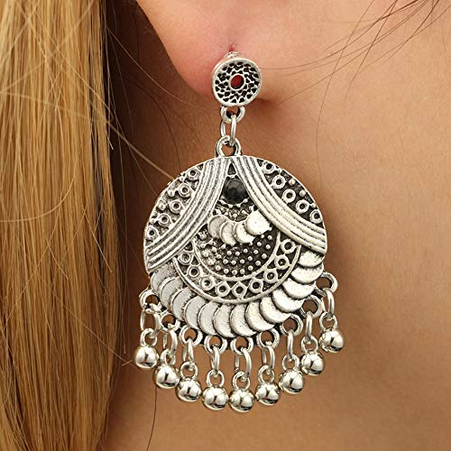 KUUCOL Antique Ethnic Brocade Mexico Gypsy Engraved Lotus Hook Dangle Earrings for Women and Girls (1 pair, silver)