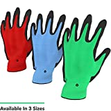 Vremi Heavy Duty Gardening Gloves for Men and Women - 3 Pack Bamboo Nitrile Coated Indoor and Outdoor Garden Gloves for Digging and Planting - Blue Green and Red in Multiple Size Options