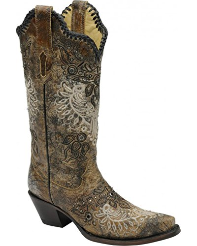 Corral Womens R1222 100% Leather Boot Black Z6a2G