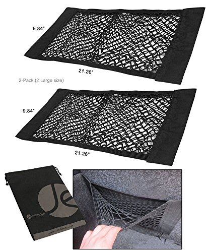 JAVOedge (2 PACK – LARGE NETS) With Adhesive Tape Storage Net Car Accessories Interior Organizer, Car/Truck / RV