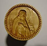 Stamp For The Holy Bread Orthodox Liturgy/Wooden Hand Carved Traditional Prosphora *Serafim Sarovskiy* (Diameter: 1.58 inches/40 mm) #49