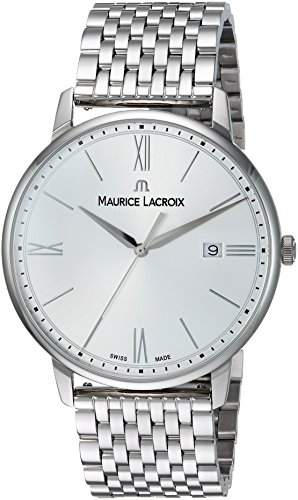Maurice Lacroix Men's 'Eliros' Swiss Quartz Stainless Steel Casual Watch, Color:Silver-Toned (Model: EL1118-SS002-110-2)