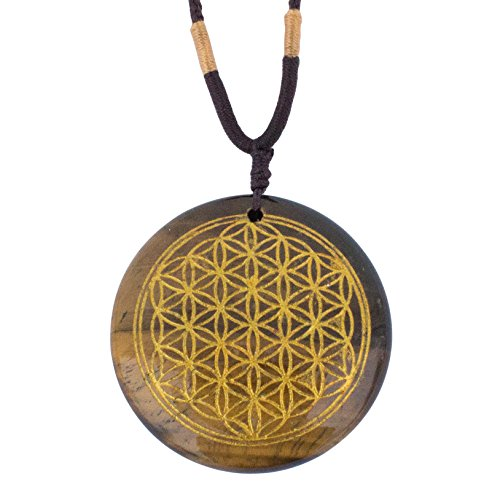 Ezina Designs Flower of Life Polished Gemstone Stone Amulet Pendant Lapis Lazuli Tigers Eye for Protection and Health (Tiger