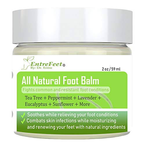 Dr. Entre's Foot Balm: Organic Hydrating Antifungal Relief for Dry Cracked Heels, Callused Feet, Athletes Foot, Toenail Fungus, and Bunions - Essential Oil Based Cream - Satisfaction Guaranteed ()